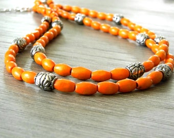 Vivid Orange Wood Necklace Double Strand Lobster Clasp
