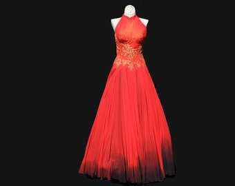Vintage Red Silk Chiffon & Lace Halter Dress / Floor Length Evening Gown