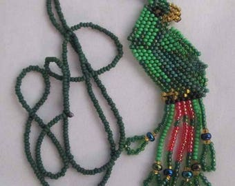 Vintage Native American Hand Beaded Green Parrot Necklace Southwestern, Boho, Hippie, Parrot Lover Vintage