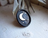 Moon and Stars Pin   |||   copper and sterling silver oval pin
