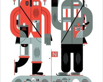 "Canada Russia Summit 17x22"" Art Print by Raymond Biesinger"