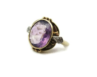 Art Nouveau Amethyst Ring - Diamond Accents, 10k Gold Victorian, February Birthstone Jewelry, Engagement Ring