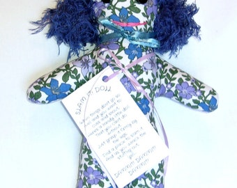 STRESS RELIEF DOLL Dammit or Dang It  Floral Print Fuzzy Blue Hair
