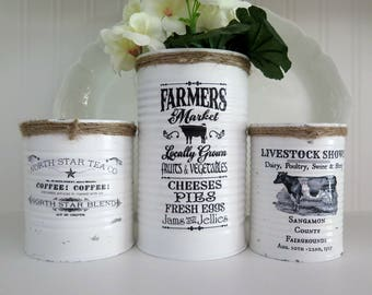 Set of 3 Shabby Farmhouse Chic Upcycled Tin Can Storage Container Flower Vase  Hand Painted