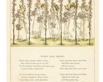 Kate Greenaway Print, Antique Victorian Original Kate Greenaway Print, Under Rose Arches, Young Girls w Rose Bouquets, Wedding Decor Print