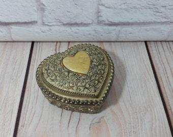 Vintage Ornate Lidded Silver Toned Heart Trinket Box With Blue Velvet Lining