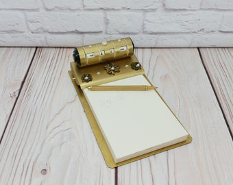 Vintage Perpetual Desk Calendar Note Paper Holder Gold Pearl Flower Accents