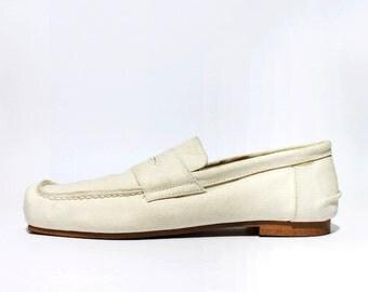 1990's Comme Des Garcon White Canvas Loafers