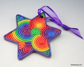 Star of David Ornament in Rainbow Polymer Clay Filigree