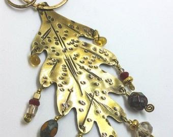Gold Brass Oak Leaf Necklace