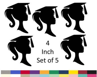 Graduation Table Centerpiece Picks Girl Silhouette DIY Graduation Party Decoration Decor Supply 4 Inch Set Of 5 Choose From 20 Colors