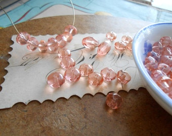 80 glass faceted rosy pink beads - vintage beads destash lot