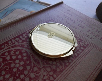 shiny gold compact mirror blank - vintage old new stock