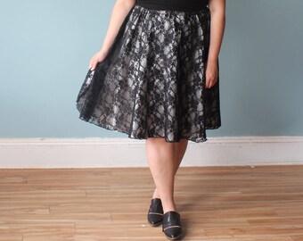 plus size skirt | lace skirt | black white cocktail skirt | XXL