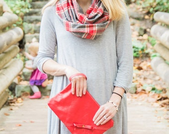 Red Leather Clutch - Genuine Leather - Wristlet