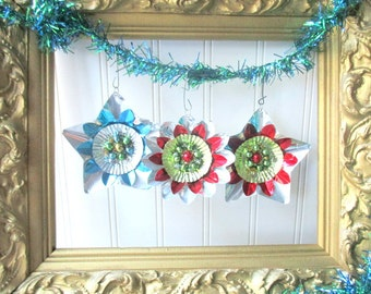 3 Christmas ornaments Upcycled vintage metallic foil reflector mercury glass beads star and flower shape Retro Mid Century G1