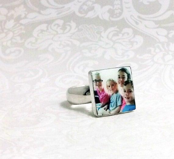 OOAK Custom Photo Tile Ring - C4Ri