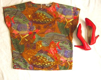 80s Novelty Print Blouse / ABSTRACT FISH Blouse / 1980s Artsy Colorful Blouse