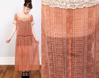 SALE - 1930s Dress Red Print