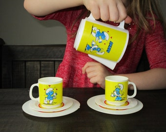 Vintage Smurf Tea Set - Smurfette - 1980s Retro Gift - Vintage Collectible - Cups and Saucers - Pitcher and Plates - 80s Cartoon