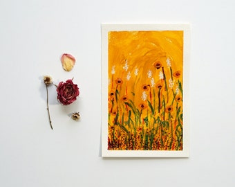 "Ochre Wildflower Art Field of Flowers Abstract Landscape Painting on Paper Autumn Colors Nature Art Boho Gift Floral Bohemian Wall Art 5""x7"""
