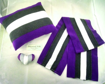 Greysexual/Gray-Ace Pride Scarves, Pillows, and Mini Hearts