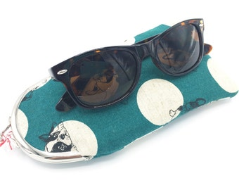 Glasses Case, Coin Purse, French Bull Dog, Fabric Glasses Case, Fabric Coin Purse, Teal Coin Purse, Teal Glasses Case, Soft Glasses Case