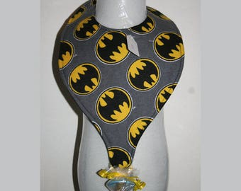 "Baby Bibs, Pacifier Bibs, Bibs with Pacifier, Bibs, Pacifier, "" Batman"""