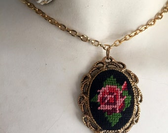 lovely vintage 1960's 1970's ROSE cross stitch TAPESTRY cameo pendant goldstone necklace two sided MIRROR back