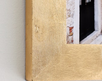 5x7 gold leaf picture frame with glass