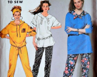 Simplicity 7580 Sewing Pattern, Misses Knit Slim Pants and Top in Two Lengths, Size PT to XL, Uncut FF, Easy to Sew Sportswear