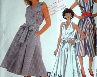 Vintage 80's Easy McCall's 2028 Sewing Pattern, Misses' Halter Dress & Tie Belt, Size 18, Bust 40, Uncut FF, 1980's Spring Summer Fashion