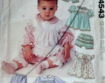 Vintage 80's McCall's 4543 Sewing Pattern, Infants' Dress, Pinafore, Pants, Pantaloons And Panties, Size NB-S-M-L, Uncut FF, Baby Clothes