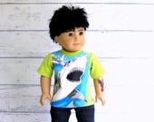 American Boy Doll Shark Shirt, 18 inch Doll Tee Shirt