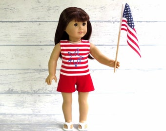 4th of July Tank Top and Shorts, 18 inch Doll Clothes American Patriotic Outfit