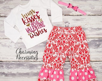 Baby Girl Valentines Day Outfit, Toddler Girl Clothes, Top and Ruffle Pants Set, Hugs Kisses Wishes red pink sparkle by Charming Necessities