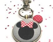 Minnie Mouse Keychain, Fabric Button Keychain, Disney Keychain, Fabric Button, Disney, Stocking Stuffer, Teacher Gift