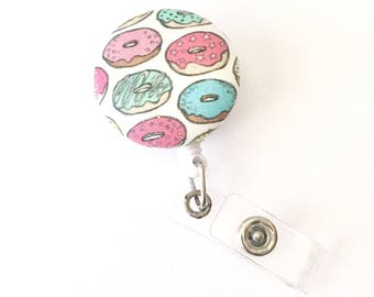 Fabric Covered Button Badge Reel, Donut Badge Reel, Nurse Badge Reel, Hospital ID Badge Reel, RN, Office Accessory, Doctor