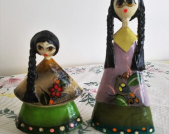 SALE!!  Two (2) Vintage Mexican Papier Mache Dolls, Figurines, Folk Art, Hand Made, Mother/Daughter, Triangle Dolls, Signed Lopez