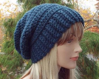 Dark Denim Blue Crochet Hat, Womens Slouchy Beanie, Boho Slouchy Hat, Oversized Slouch Beanie, Chunky Hat, Winter Hat, Slouch Hat