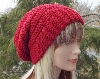 Cranberry Red Crochet Hat, Womens Slouchy Beanie, Boho Slouchy Hat, Oversized Slouch Beanie, Chunky Hat, Winter Hat, Slouch Hat