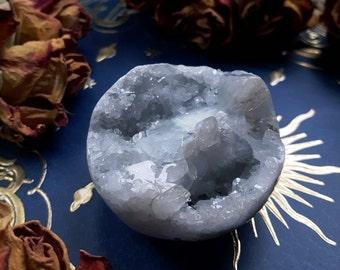 Celestite Crystal - Celestite Orb - Small Silver Blue Celestite Sphere - Gemmy Celestite Crystal Cluster - Round Celestite Geode Crystal