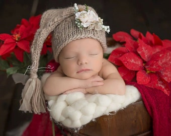SALE Baby Hat, Newborn Hat, Christmas Baby Hat, Christmas Stocking, Knit Newborn Hat, Baby Photo Prop