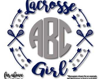 Lacrosse Girl Monogram Wreath with Arrows (monogram NOT included) - SVG, dxf, png, jpg digital cut file for Silhouette or Cricut LAX