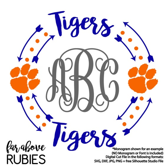Tigers Paw Print Monogram Wreath With Arrows Monogram Not