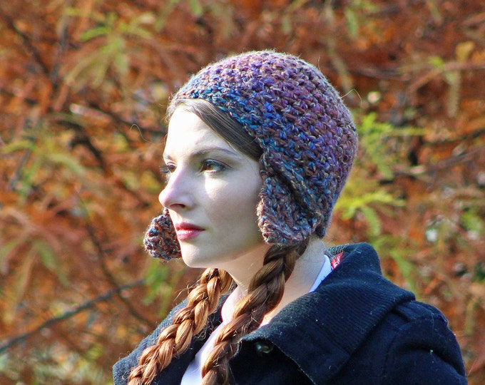 Brown and Earthy Rainbow EarFlap Hat Handmade Crochet Gift for Her or Him Kids Teens or Adults