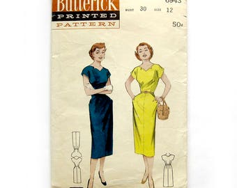 1950s Wiggle Dress with Star Cut Neckline Vintage Butterick 6943 Quick and Easy Sewing Pattern / Size 12 Bust 30