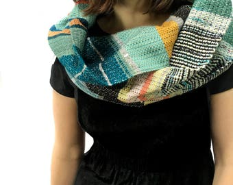 Bonnie | Woven Peacock Blue Heirloom Scarf | Handwoven OOAK Striped Scarf | Jewel Tone Fashion Accessory | Ladies Woven Gifts for Her | H82