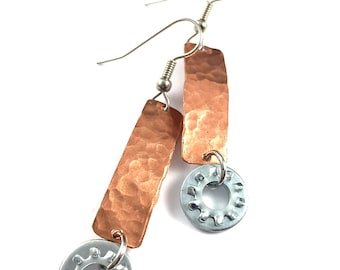 Steampunk Dangle Earring Dangle Copper Hardware Jewelry Industrial Eco Friendly