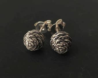 Woodland stud earrings-Pine cone earrings-Sterling silver tiny studs-Dainty earrings-Nature cast Jewelry-Gift under 40